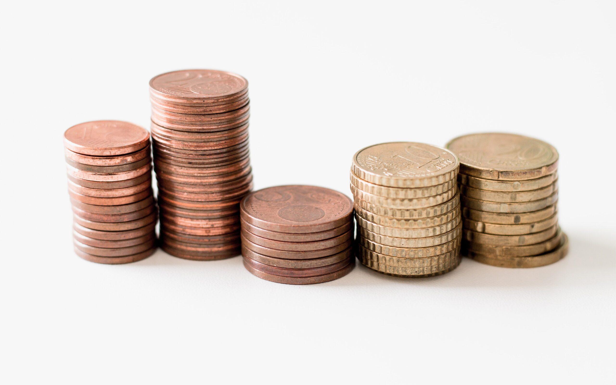 積みあがったお金の硬貨